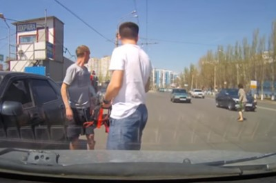 Brainless Woman Walks Straight In Front Of Speeding Cars And Just Barely Avoids Death!